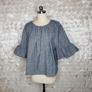Eloquii top bell sleeve grey stripe linen cotton